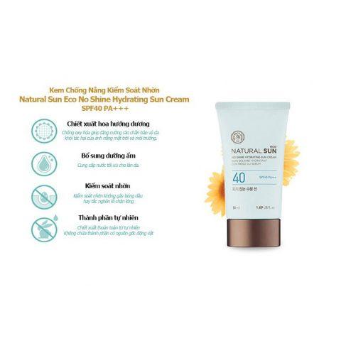 Kem chống nắng cho da khô Natural Sun Eco No Shine Hydrating Sun Cream SPF40 PA+++