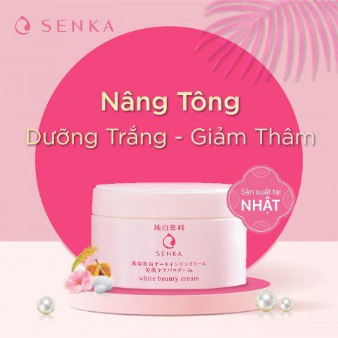 Kem đêm dưỡng trắng da nâng tông SENKA White Beauty Cream