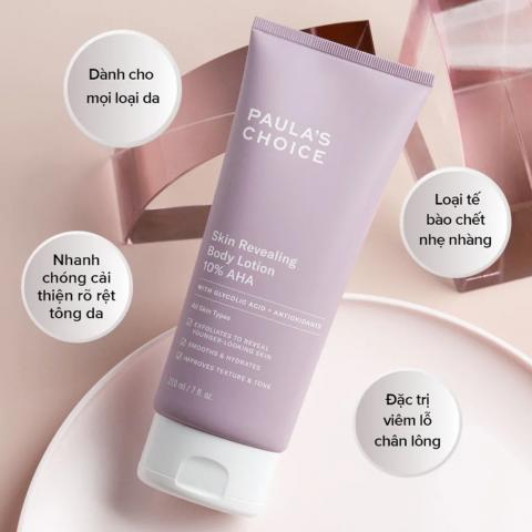 Kem dưỡng trắng tẩy da chết body: Paula's Choice Resist Skin Revealing Body Lotion 10% AHA