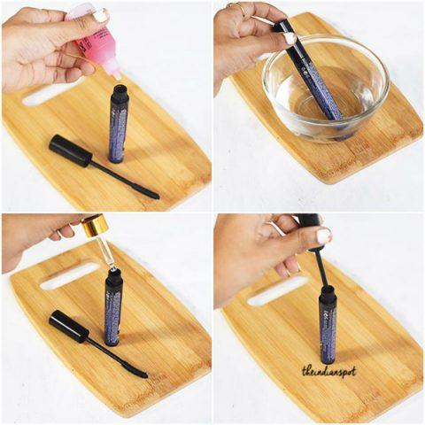 Mẹo nhỏ giúp khắc phục mascara bị khô, vón cục: Cách 1: Sử dụng nước nhỏ mắt
