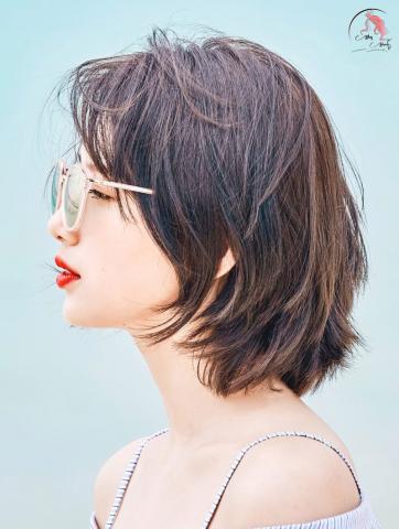 Tóc ngắn layer tự nhiên cho nữ mặt tròn