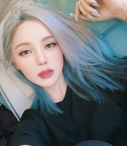 Tóc Ombre trắng xanh