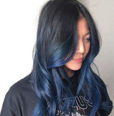 Tóc Ombre đen xanh dương