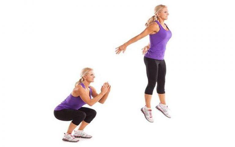 bài tập aerobic giảm mỡ bụng - squat bật nhảy