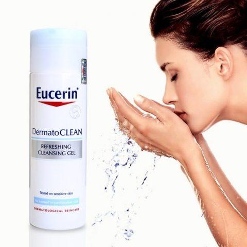 Sữa rửa mặt cho da khô Eucerin Dermatoclean
