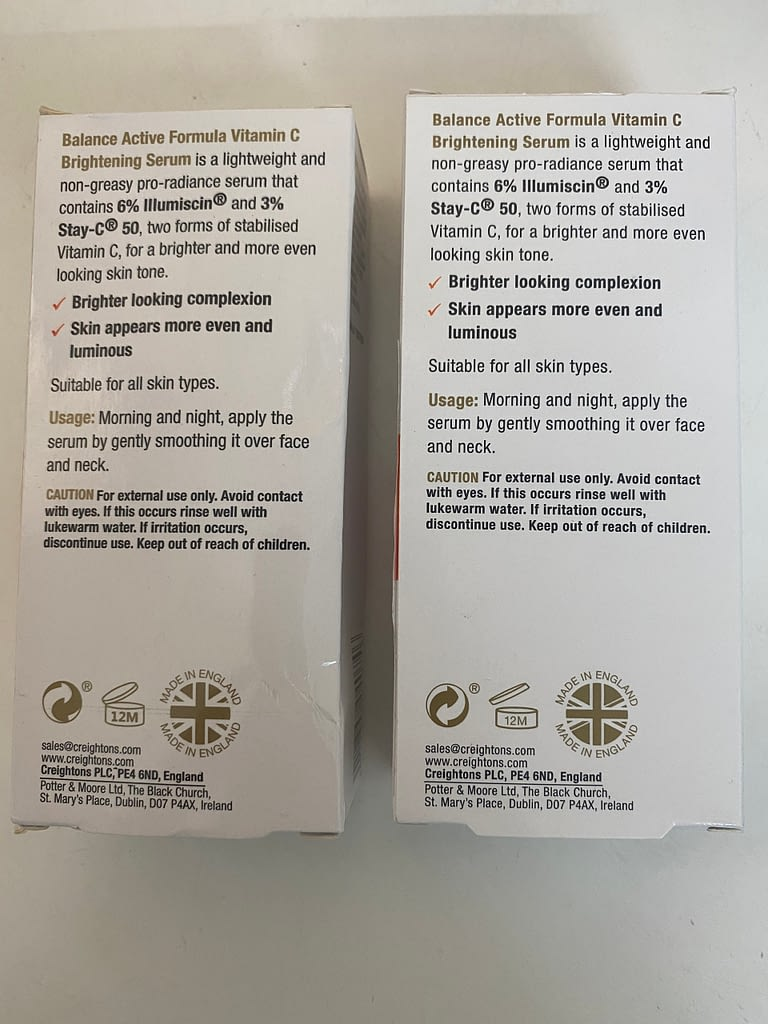 phân biệt bao bì sản phẩm serum  vitamin C thật giả