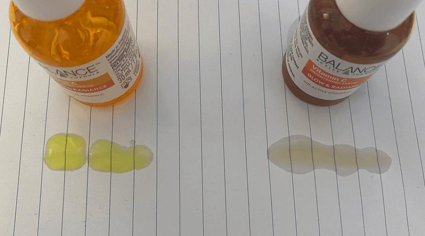 kết cấu sản phẩm Serum Vitamin C Balance thật và giả