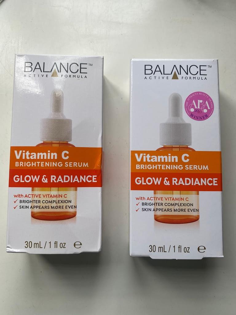 bao bì sản phẩm Serum Vitamin C Balance thật giả