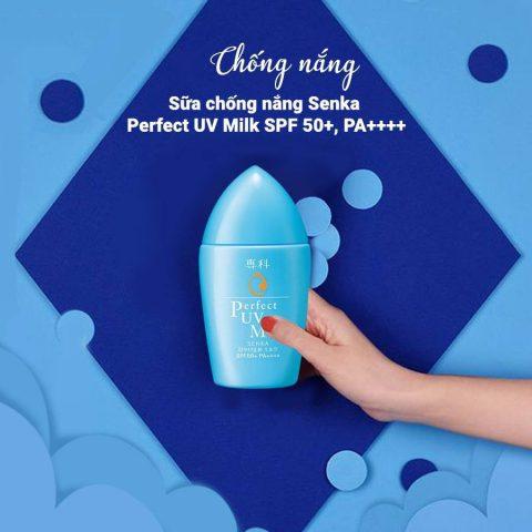 Kem chống nắng Senka Perfect UV Milk SPF 50+ PA++++ cho mọi loại da