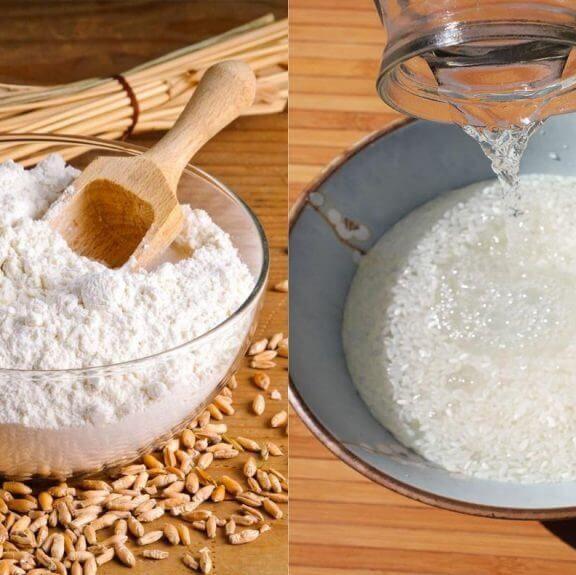 Rửa mặt bằng nước vo gạo + bột mì