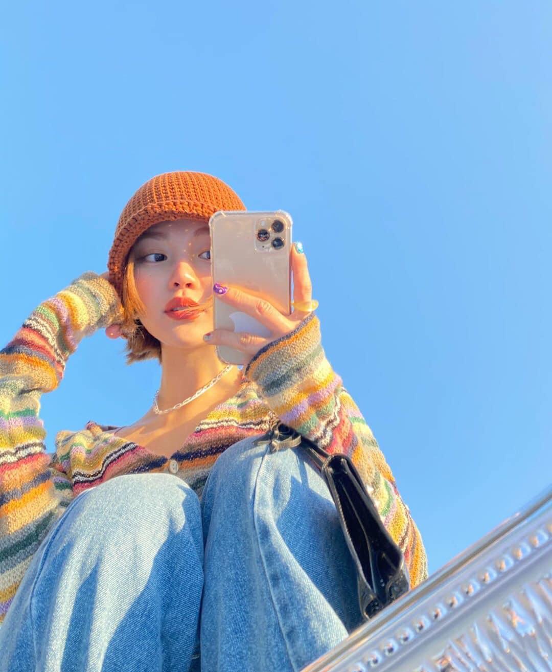 Selfie với gương ngoài trời