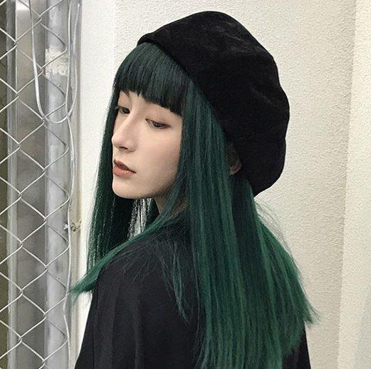 màu tóc xanh rêu cho da ngăm