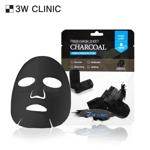 Mặt nạ than hoạt tính: 3W Clinic Fresh Charcoal Mask Sheet