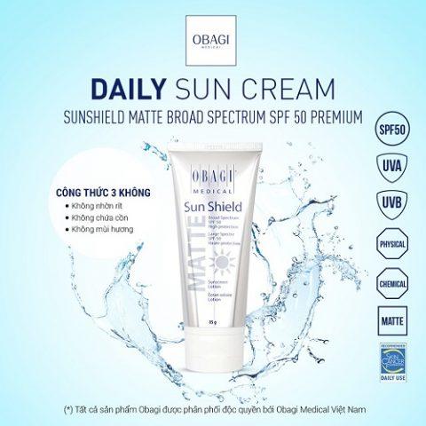 kem chống nắng phổ rộng Obagi Sun Shield Matte Broad Spectrum SPF 50 Premium