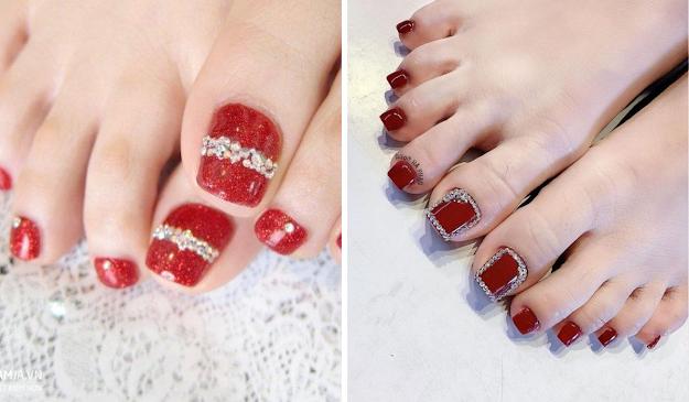 Mẫu móng chân đính đá màu đỏ