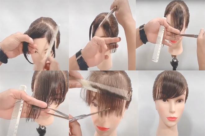 cách tóc mái thưa tại nhà