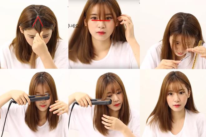 cách cắt tóc mái thưa phồng tại nhà