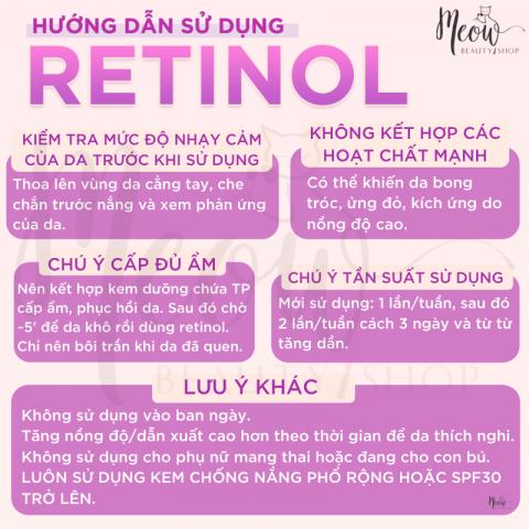 Hướng dẫn sử dụng Retinol bạn cần biết