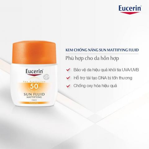 kem chống nắng cho da dầu mụn nhạy cảm Eucerin Sun Fluid Mattifying SPF50+