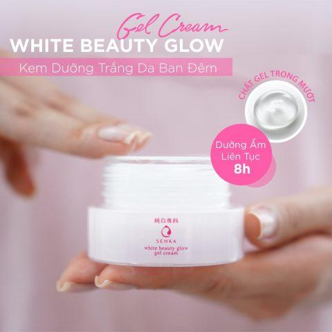 Senka White Beauty Glow có thể sử dụng như một kem dưỡng da trắng ban đêm cho các nàng