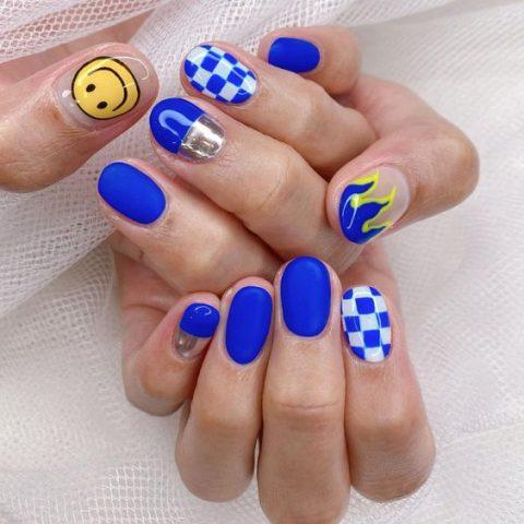 màu nail xanh