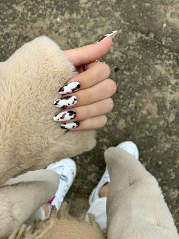 nail đơn giản cho học sinh họa tiết da beo