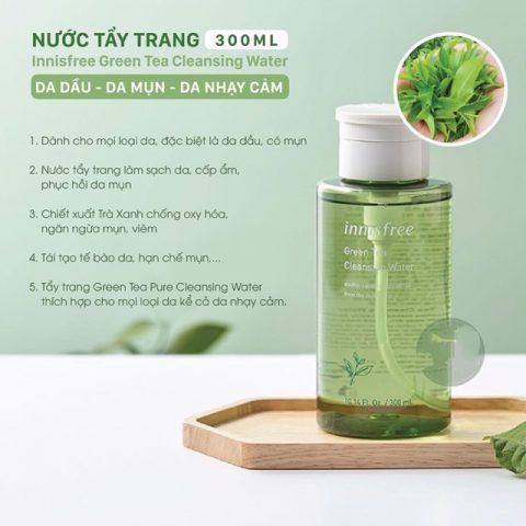 Nước tẩy trang Innisfree Green Tea Cleansing Water cho da dầu mụn nhạy cảm