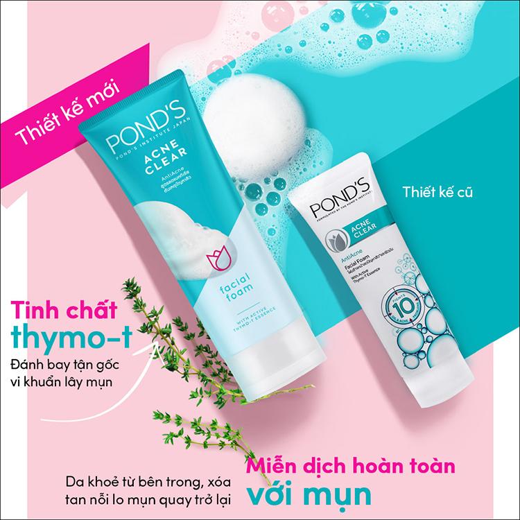 Sữa rửa mặt trị mụn Pond's Acne Clear cho da dầu mụn