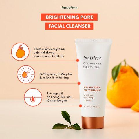 Sữa rửa mặt trắng da Innisfree Brightening Pore Facial Cleanser