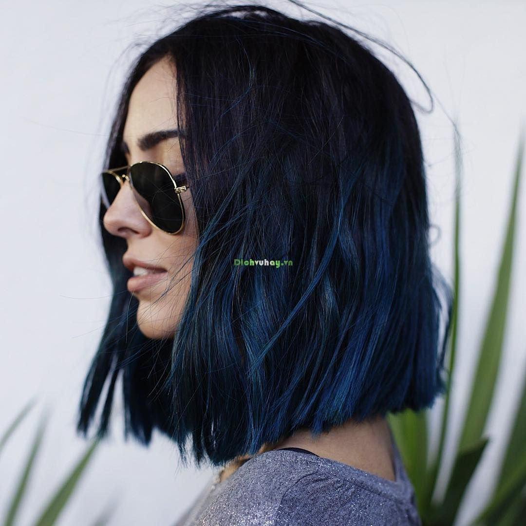 Tóc nhuộm màu xanh dương ombre